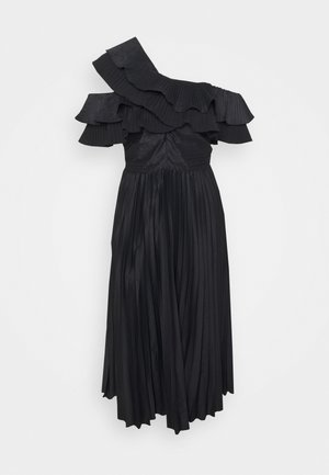 ONE SHOULDER PLEATED MIDAXI DRESS - Cocktail dress / Party dress - black