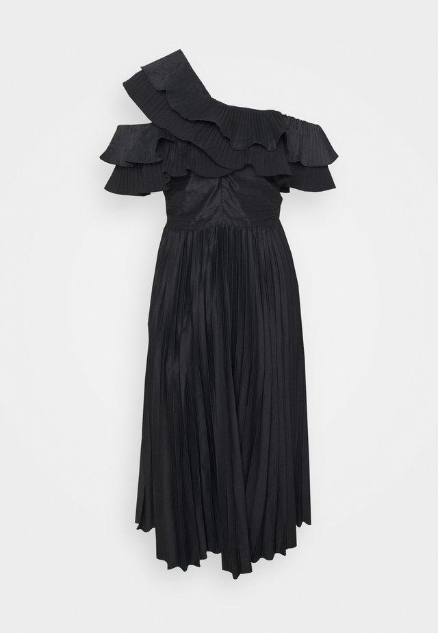 ONE SHOULDER PLEATED MIDAXI DRESS - Robe de soirée - black
