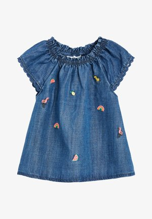 DENIM 3 PIECE EMBROIDERED SET (0-18MTHS) - Legíny - blue