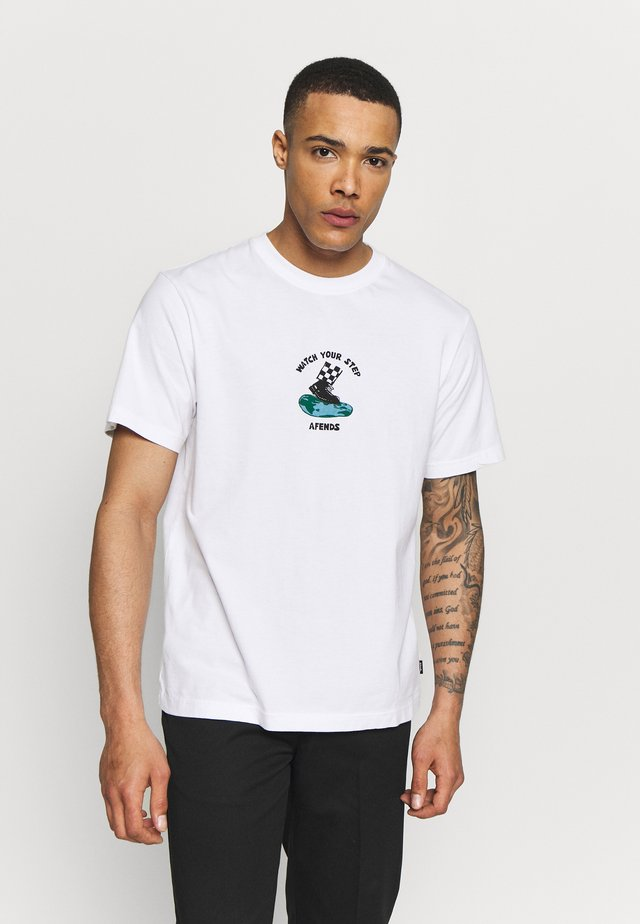 UNISEX WATCH YOUR STEP TEE - T-shirt med print - white