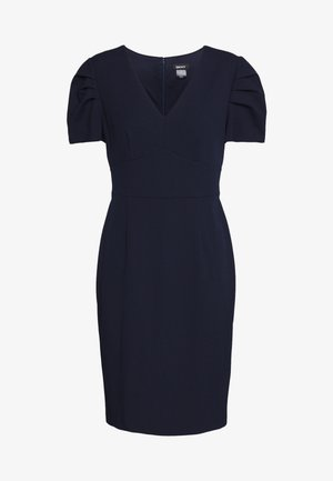 PUFF PLEAT SLEEVE V-NECK SHEATH - Pouzdrové šaty - spring navy