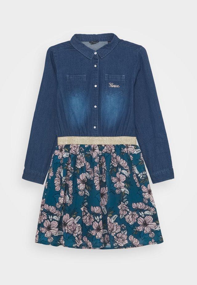 JUNIOR MIXED FABRIC SLEEVES DRESS - Shirt dress - blue/silver