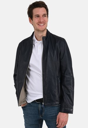 RON - Leather jacket - navy blue