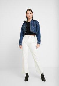 Topshop - CROP BORG JACKET - Denim jacket - blue denim - 1