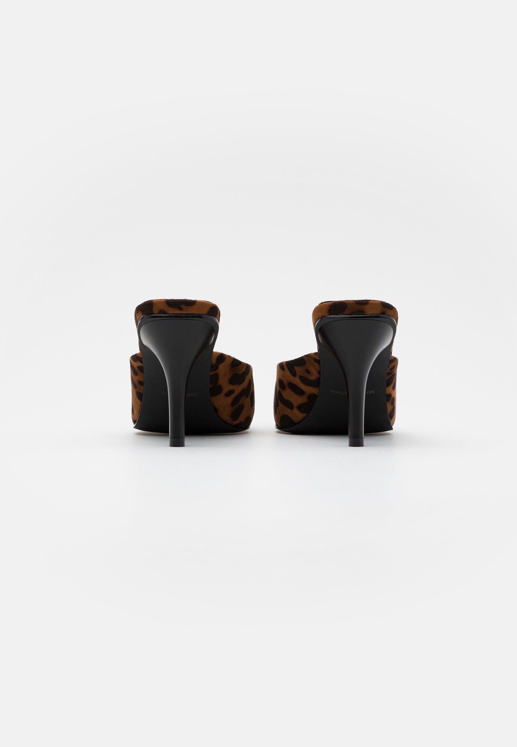 Na-kd Squared Back Leopard Mules - Sandaler Brown