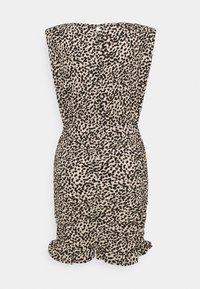 New Look Petite - SHOULDER PAD RUCHED DRESS - Day dress - beige/black - 6