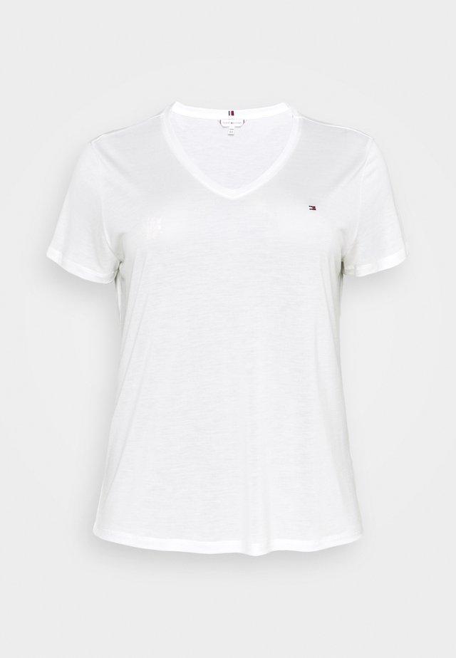 RELAXED V NECK - Jednoduché triko - ecru