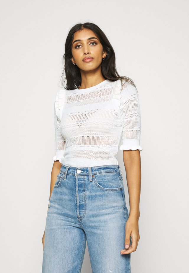FRILL POINTELLE TOP - Pullover - white