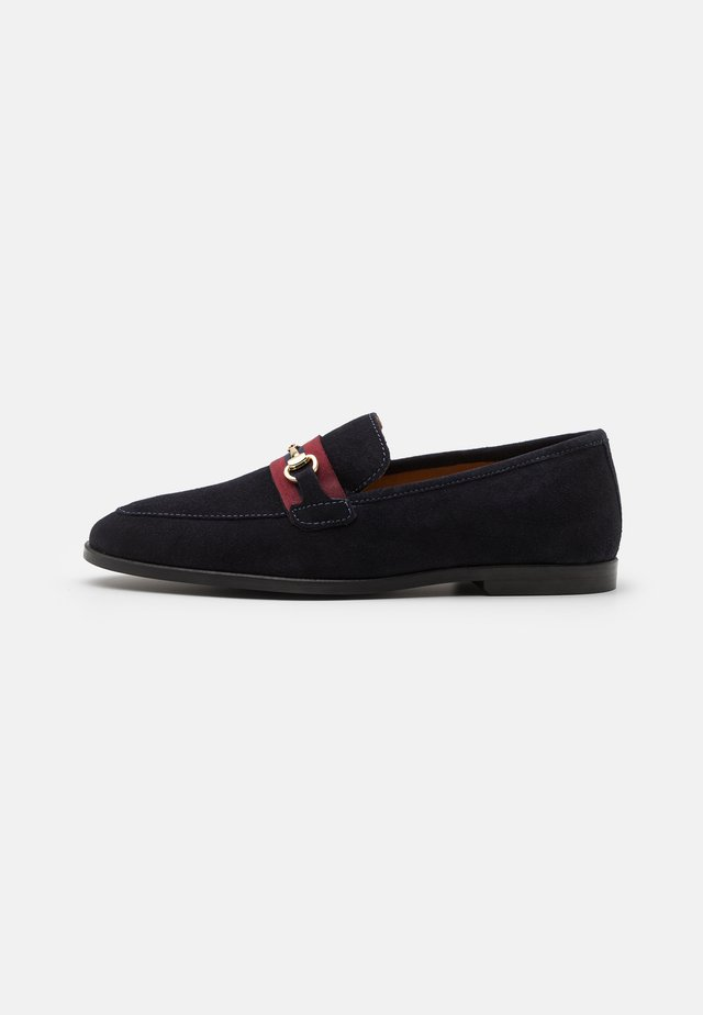 LEATHER - Slip-ons - dark blue