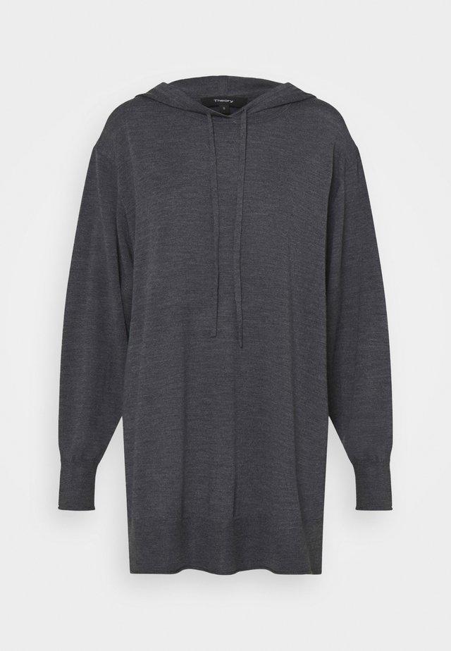 HIGH SLIT HOODIE - Strickpullover - medium heather grey