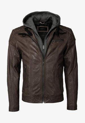 MIT KAPUZE - Leather jacket - brown