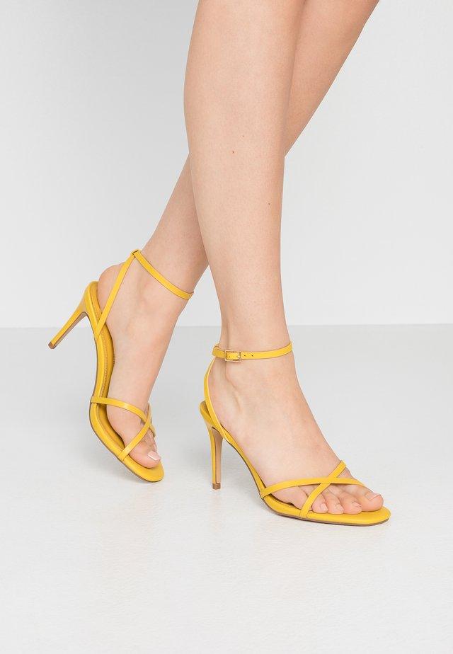 SAFIRA STRIPPY DRENCH ENAMEL - High heeled sandals - lime