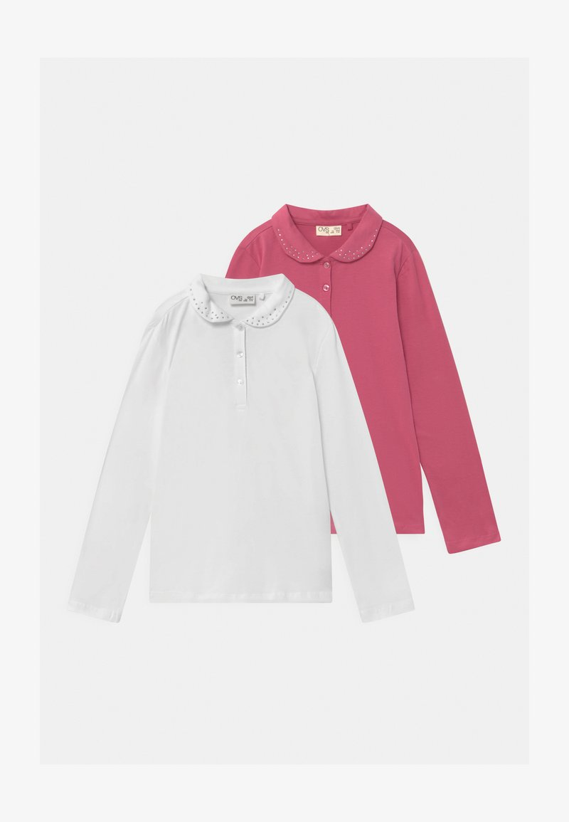OVS - 2 PACK - Long sleeved top - carmine/white