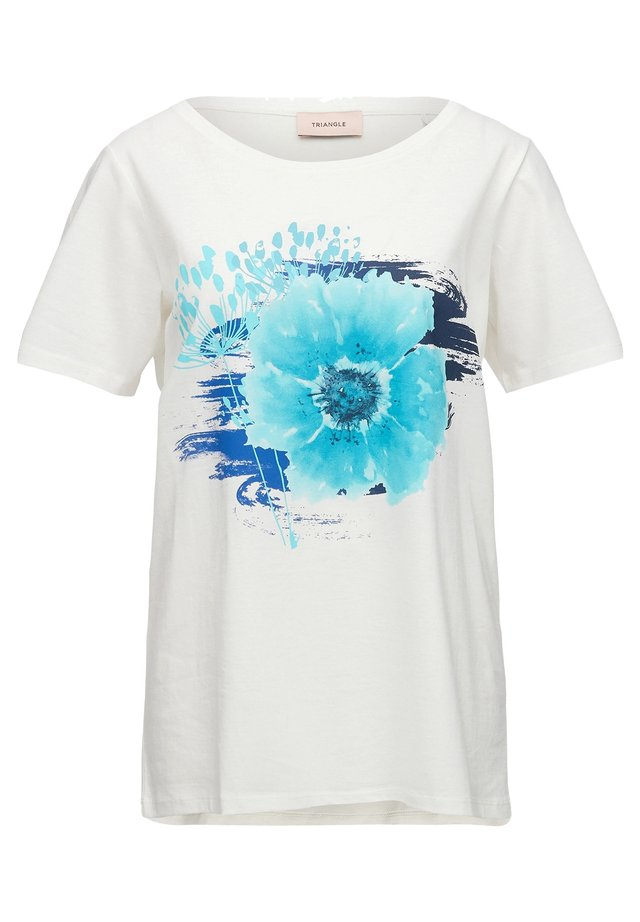 Print T-shirt - white flower