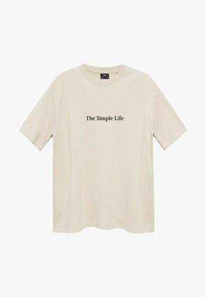 RELAXED FIT - Camiseta estampada - beige