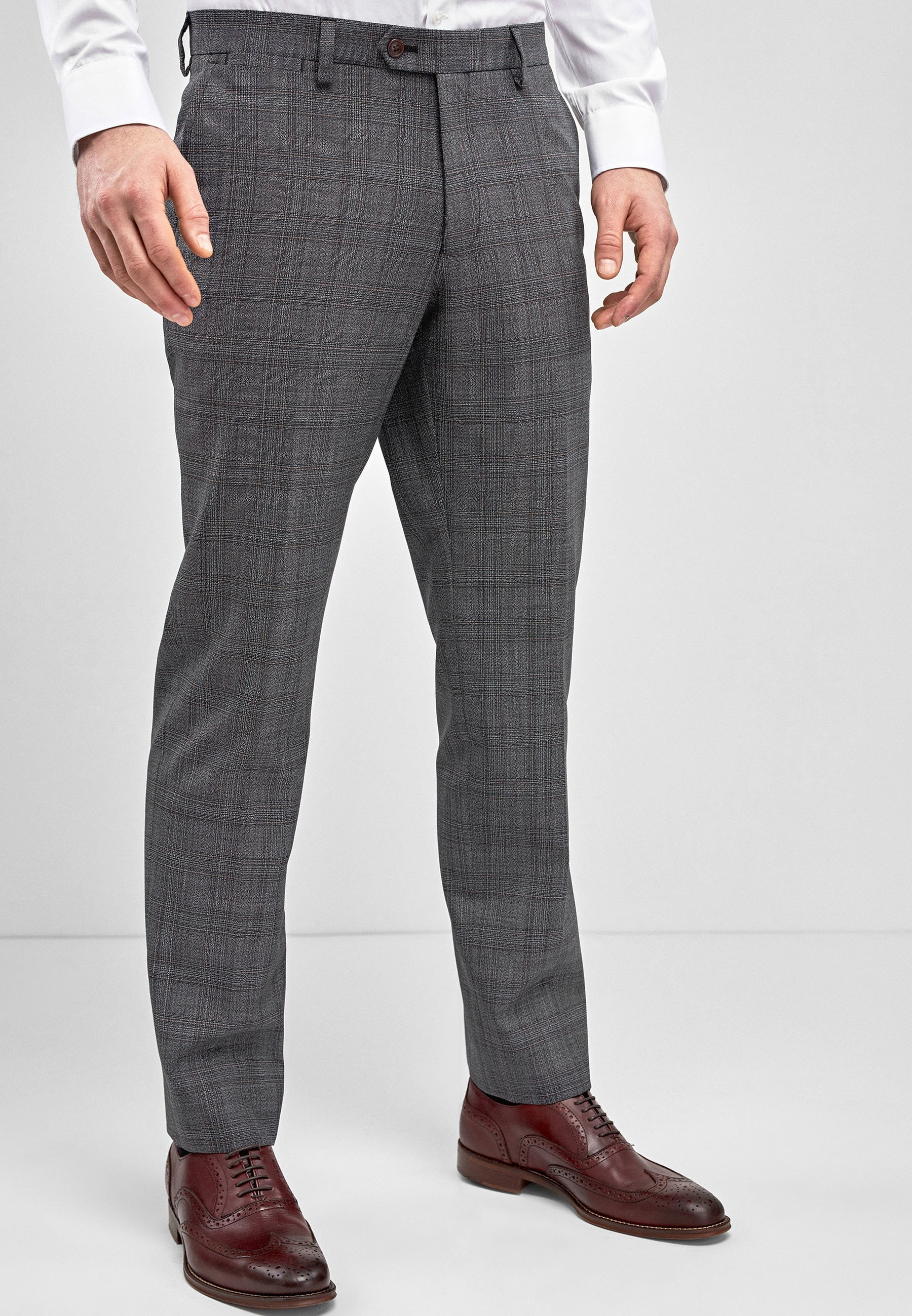 Homme GREY CHECK WOOL MIX TAILORED FIT TROUSERS - Pantalon de costume