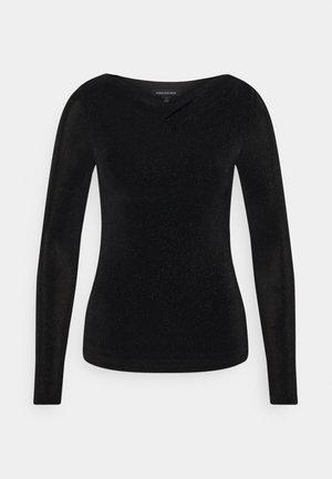 DRAPE COWL NECK - Long sleeved top - black sparkle