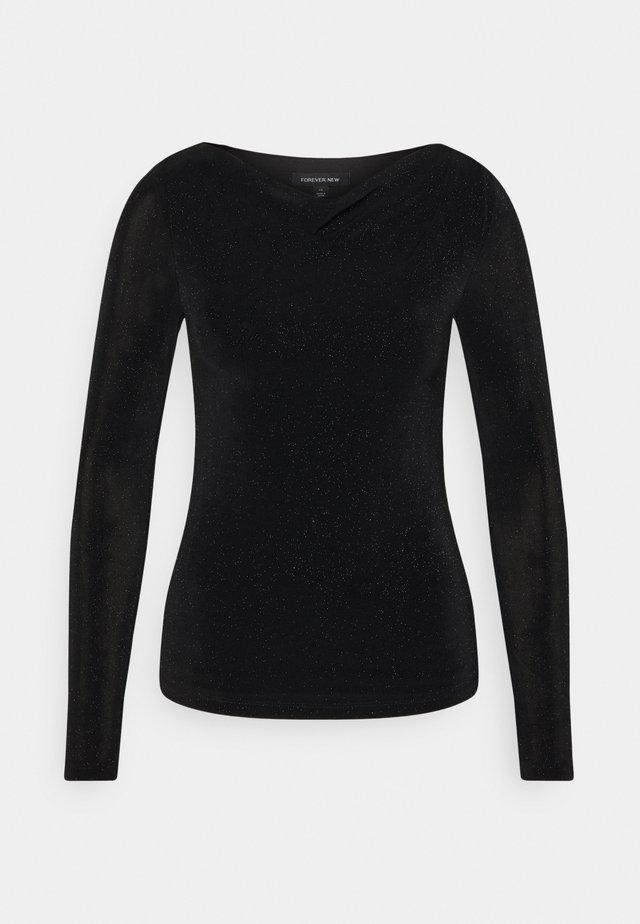 DRAPE COWL NECK - Langærmede T-shirts - black sparkle