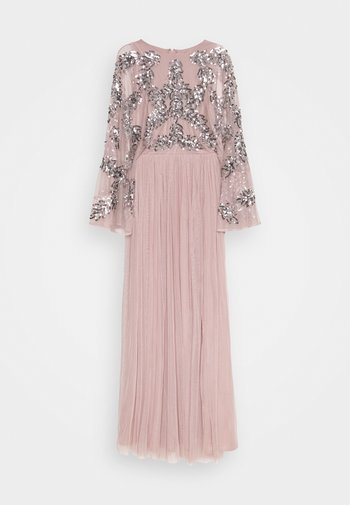 CAPE SLEEVE MAXI DRESS WITH FLORAL EMBELLISHMENT - Iltapuku - frosted pink