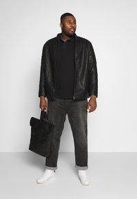 TOM TAILOR MEN PLUS - BIKER JACKET - Faux leather jacket - black - 1