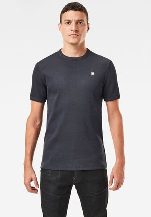 PLATED RIB RINGER SLIM ROUND SHORT SLEEVE - Basic T-shirt - dark blue