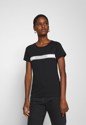STRIPE SLIM TEE - T-shirt z nadrukiem - black