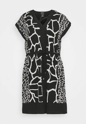 PRINTED VNECK SHORT DRESS - Day dress - black french / vanilla comb