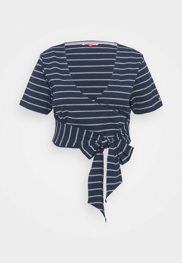 STRIPED WRAP - Print T-shirt - twilight navy/white