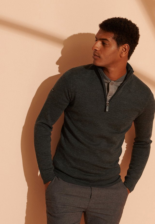 MERINO HENLEY - Fleece trui - dark charcoal marl