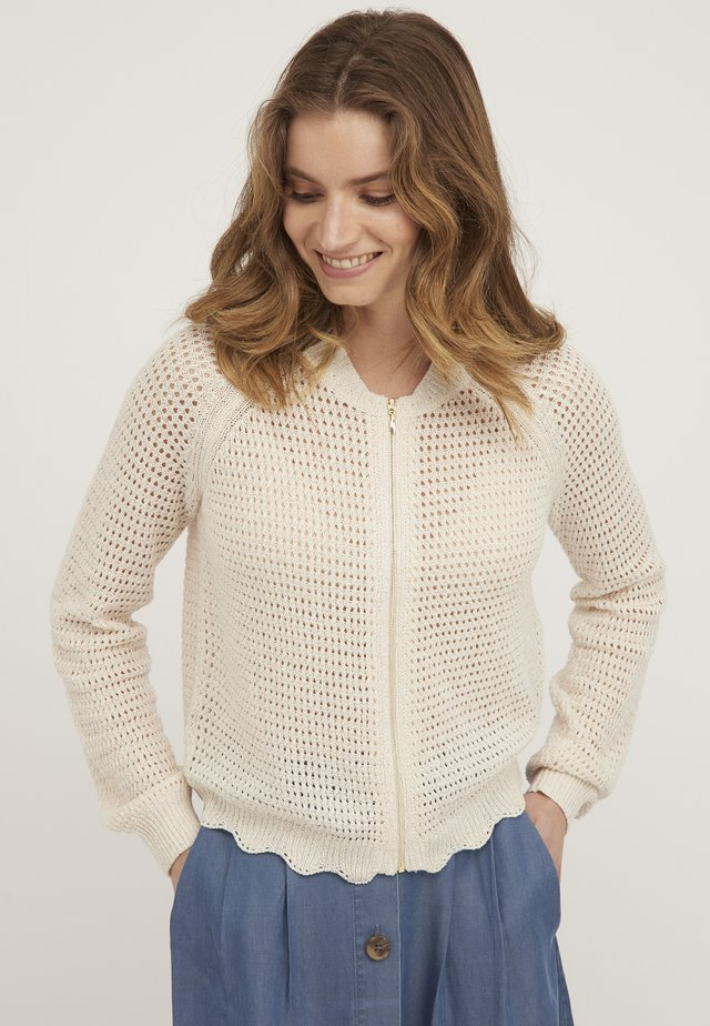 POINTELLE KNITTED - Cardigan - blanc
