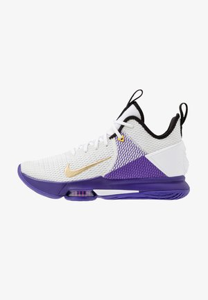 LEBRON WITNESS IV - Basketball shoes - white/metallic gold/voltage purple/pure platinum/opti yellow/volt