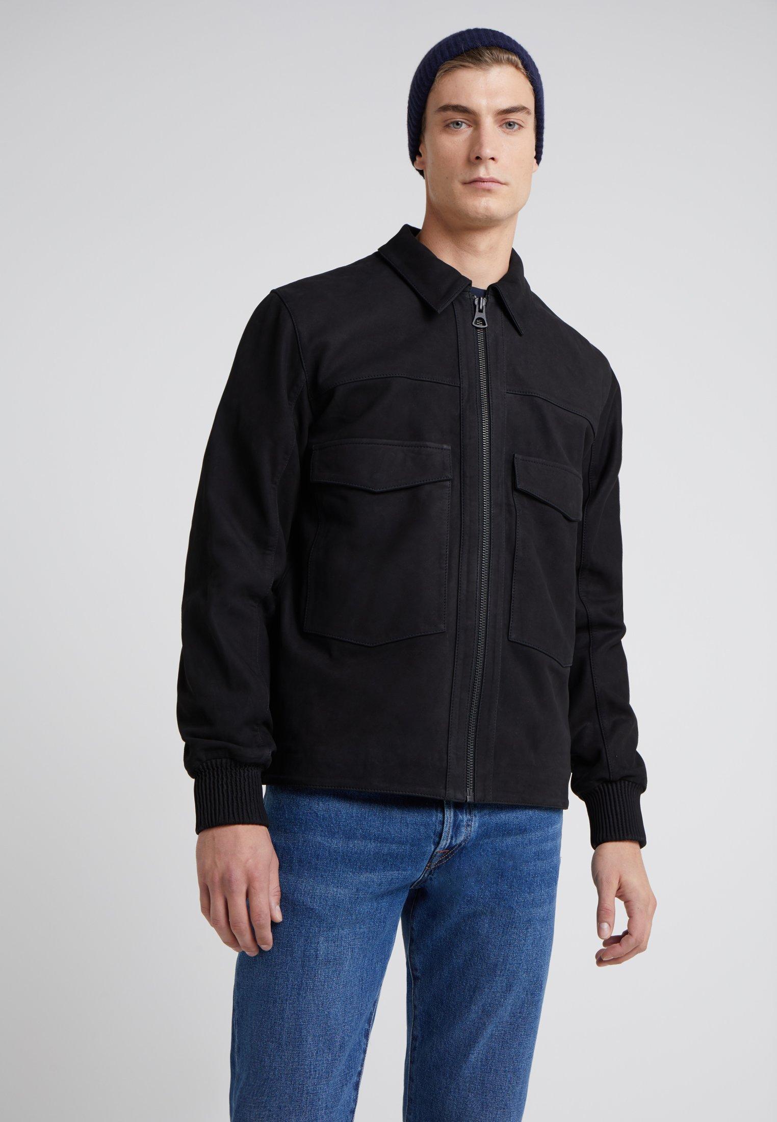 Bonne Vente Vêtements homme Bruuns Bazaar BEN Veste en cuir black tl34VCA0