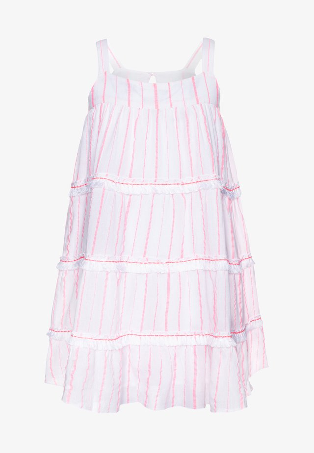 GIRLS STRIPE FRINGED TIER DRESS - Day dress - pink