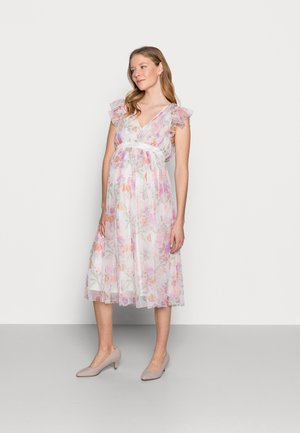 DEEP MIDI DRESS WITH WAISTBAND - Vapaa-ajan mekko - WHITE WATER COLOUR