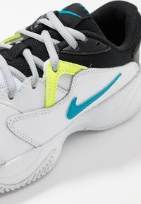 Nike Performance - COURT Jr.  LITE 2 UNISEX - Multicourt tennis shoes - white/neo turquoise/hot lime/light smoke grey - 2