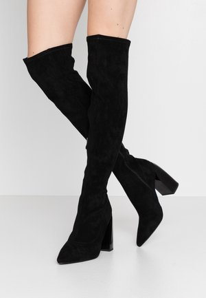 TIGHT SHAFT BLOCK BOOTS - High heeled boots - black