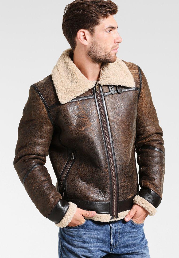 Goosecraft - LAMMY - Kožená bunda - brown