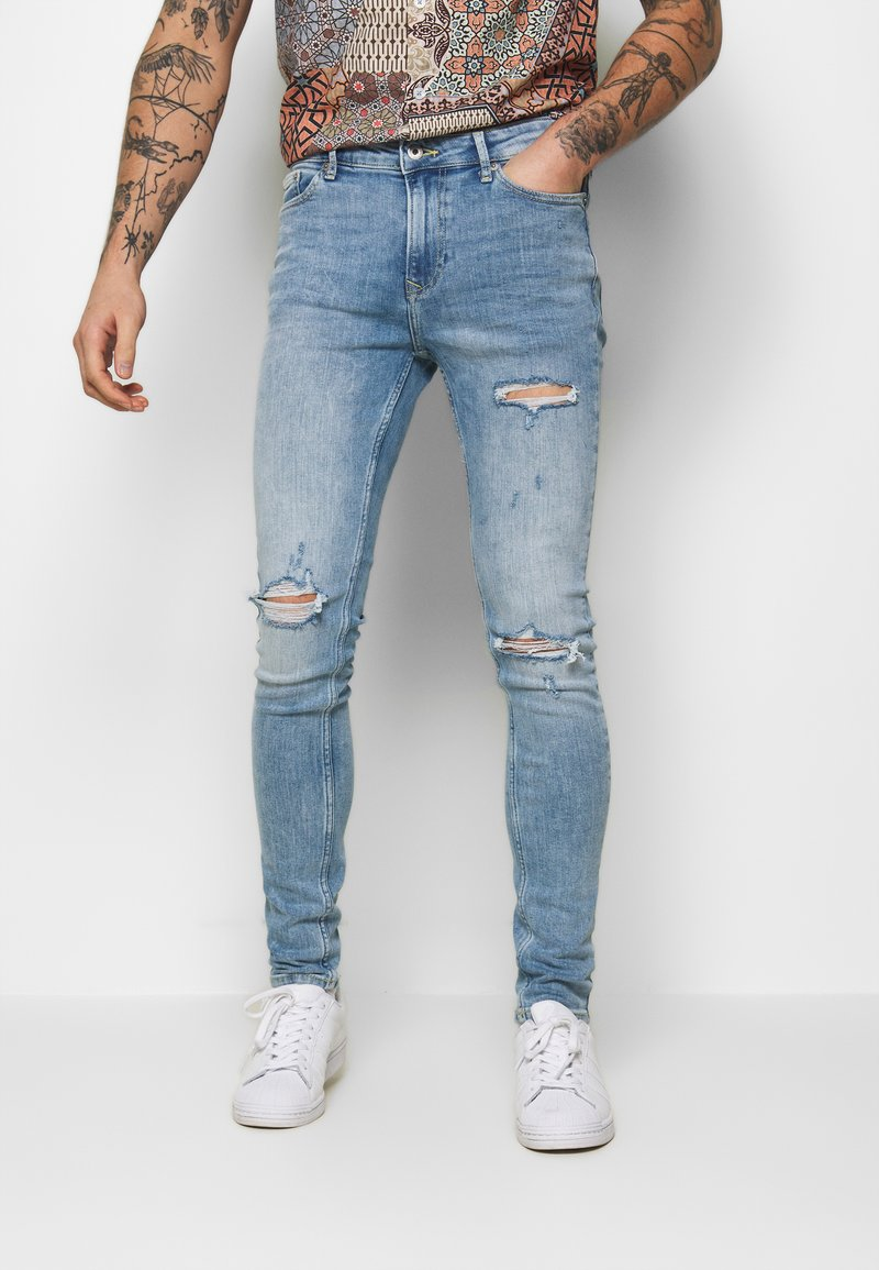 Topman - RIP SPRAY - Jeans slim fit - blue