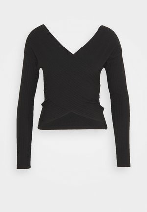CRISS CROSS SHOULDER - Topper langermet - black