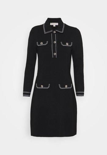 CONTRAST STITCH BUTTON DRESS - Jumper dress - black