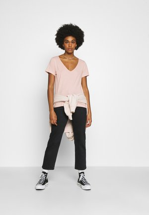 2 PACK - Basic T-shirt - anthracite / light pink