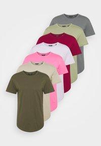ONSMATT LIFE LONGY TEE 7 PACK - Basic T-shirt - dark blue/beige/green