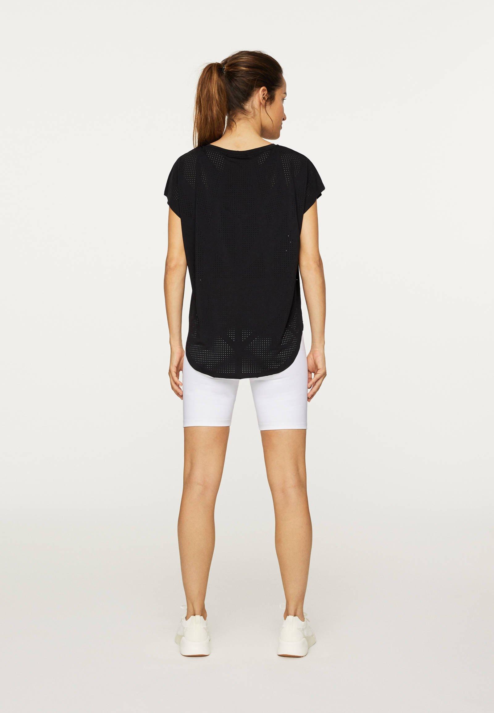 OYSHO MIT LASER-CUT-OUT - Basic T-shirt - black kW4hS