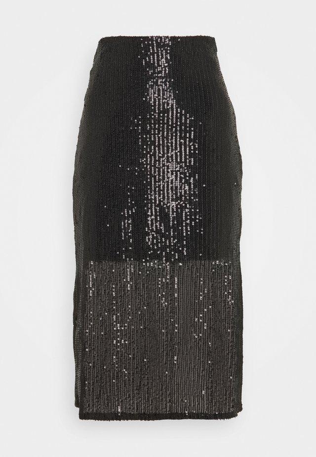 SEQUIN MIDI SKIRT - Falda de tubo - black