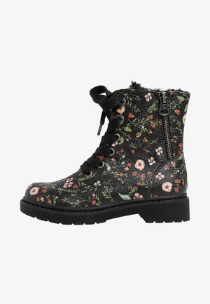 Lace-up ankle boots - flower comb