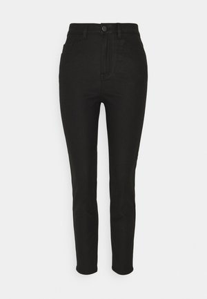 OBJVINNIE COATED - Straight leg jeans - black