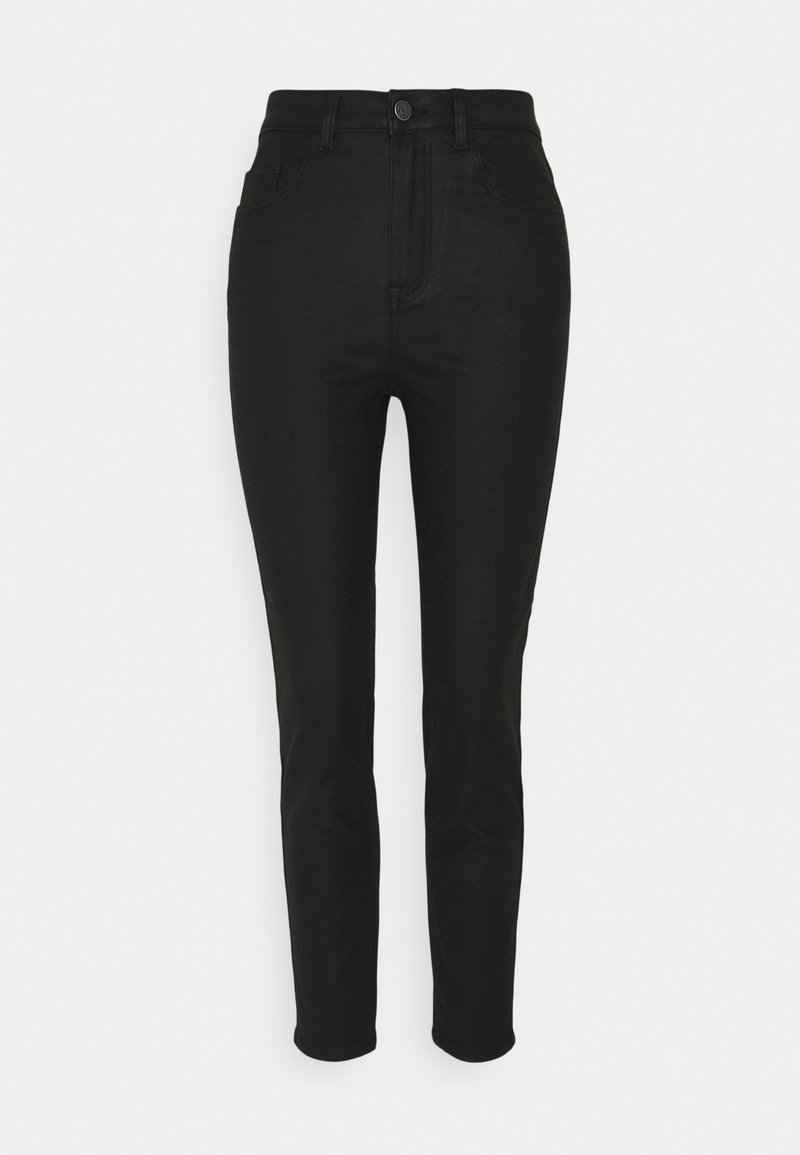Object - OBJVINNIE COATED - Straight leg jeans - black