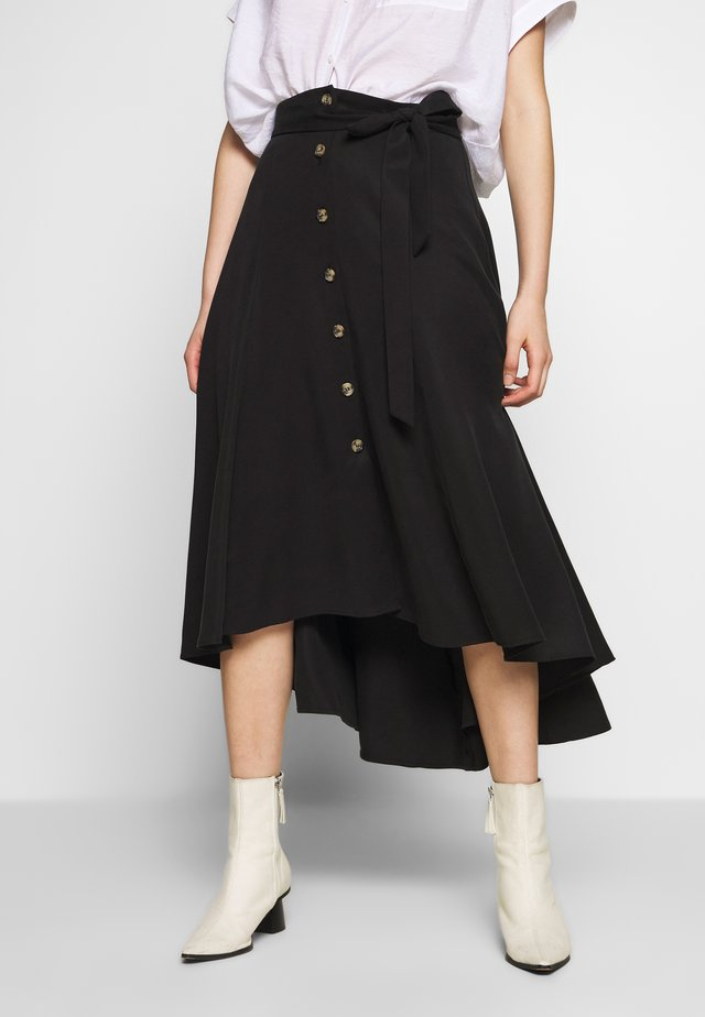 MARISSA BUTTON THROUGH SKIRT - A-line skirt - black