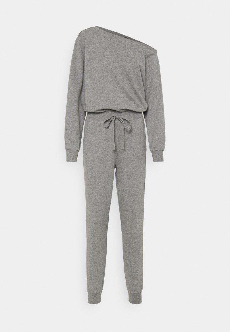 Even&Odd - Sweat off shoulder lounge jumpsuit - Jumpsuit - mottled light grey