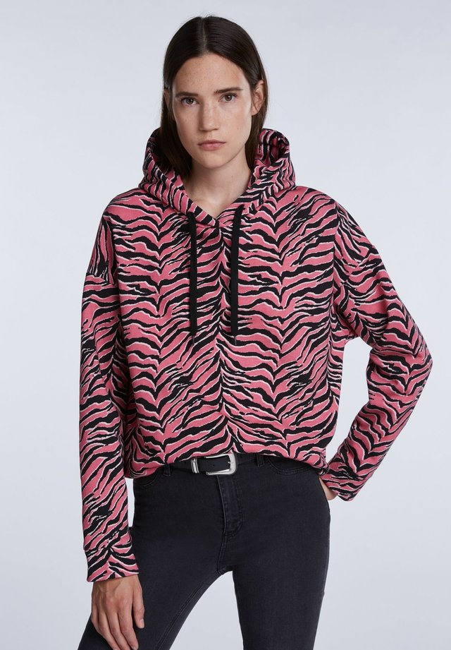 MIT ANIMALPRINT - Hoodie - pink grey
